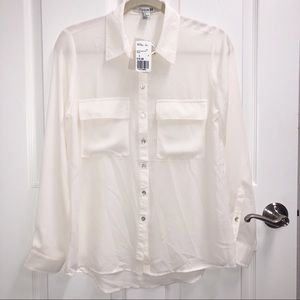 NWT FOREVER 21 Cream L/S Button Down Blouse Sz S